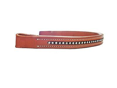 (Chestnut) - Derby Originals Full Brow Band For English Bridles with Crystals