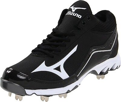 (13 D(M) US, Black/White) - Mizuno Men's 9-Spike Swagger Mid Baseball Cleat