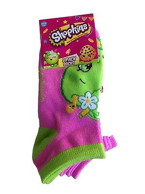 (6-8.5 Kids, Purple) - Shopkins Girls' Printed No-Show Sock - 5 Pack