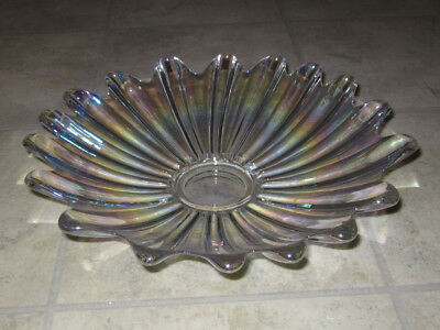 Vintage Fostoria glass flower shaped dish / bowl - Clear with iridescent glaze