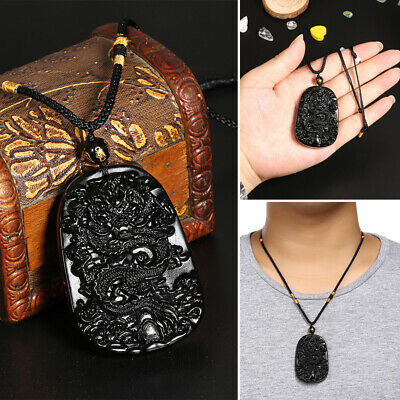 Black Obsidian Hand Carved Dragon Lucky Blessing Pendant Necklace For Men