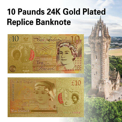 WR 24K GOLD Colored Great Britain New £10 Ten Pound Banknote 2017 Chirstmas Gift