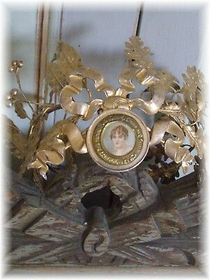 RARE ANTIQUE FRENCH WEDDING CROWN EMBOSSED BRASS STYLE EMPIRE 1860th