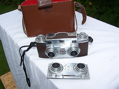 VERY RARE REVERE VINTAGE 50's STEROSCOPIC CAMERA WITH CASE AND LENS CHOICE