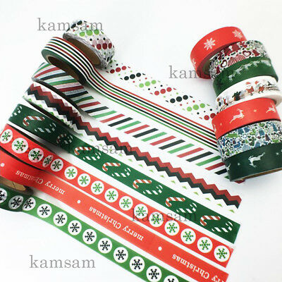 Xmas Party washi paper tape DIY handmade craft scrapbook gift wrap bar decor 10M