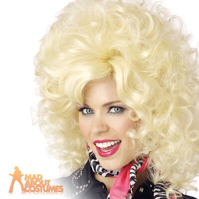 Dolly Parton Wig Country Western Ladies Fancy Dress Costume Accessory