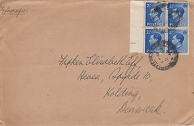 F 1040 UK  August 1949 cover Denmark; 4 x 2d 1/2d KEVIII stamps used