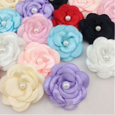 10/50/100pcs Flower Satin Ribbon Pearl Hair Bow Wedding Appliques Crafts DIY