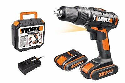 WORX WX386 18V 20V MAX Cordless Hammer Drill with x2 2.0Ah Battery Packs