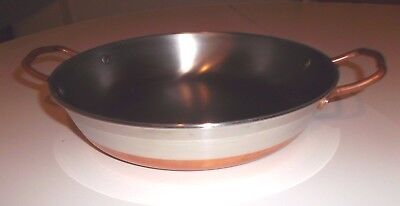 Paul Revere Round Au Gratin / Casserole Pan 1 1/2 Qt. Copper Stainless Steel