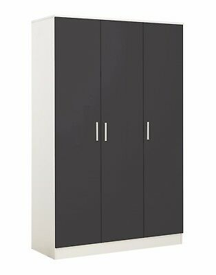 REFLECT 3 Door Soft Close Plain Wardrobe in Gloss Grey / Matt White - Bedroom