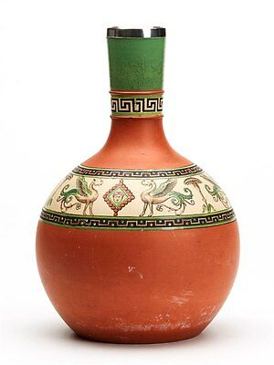 Antique Prattware Terracotta Pompeii Bottle Vase 19Th C.