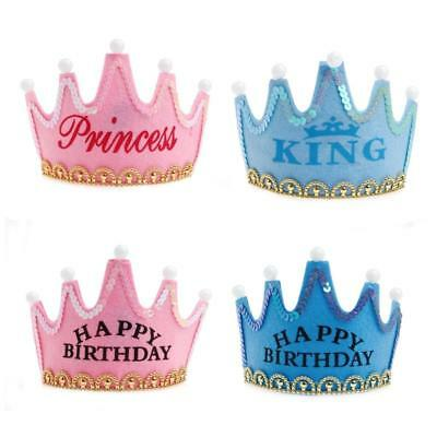 Prince Princess Crown Birthday Party LED Light Up Hat Cap Tiara For Kids Adults