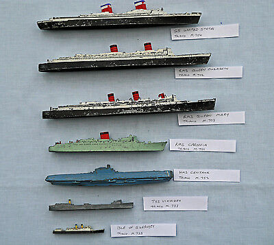 7 Vintage Triang Minic 1:200 Waterline Model ships