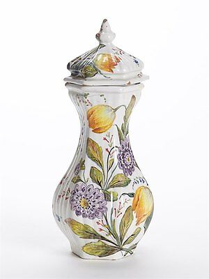 Antique Le Nove Floral Painted Faience Lidded Jar 19Th C.
