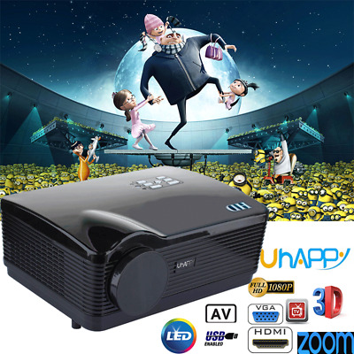 Uhappy 3D LED PROYECTOR 5000LM Zoom Projector Home Cinema HDMI/ATV/VGA 1080P HD