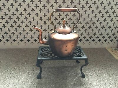 Vintage Copper Kettle With Cast Iron Stand