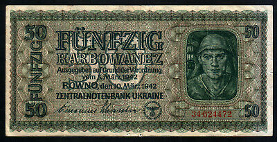 1942 German occupation of Ukraine. 50 karbowanez P-54
