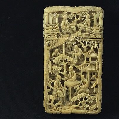 Deep Carved  bovine bone Chinese Card Case 19th Century ~ Signed