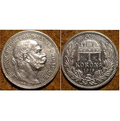 Hi Grade Wwi Silver 1915 1 Corona Austrian Empire**superb Detailed Coin***
