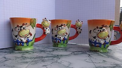 lot de 3 mugs forme de vache