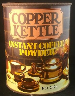 Rare Vintage 1970's Copper Kettle Coffee Powder Tin Australian Made By Cottees