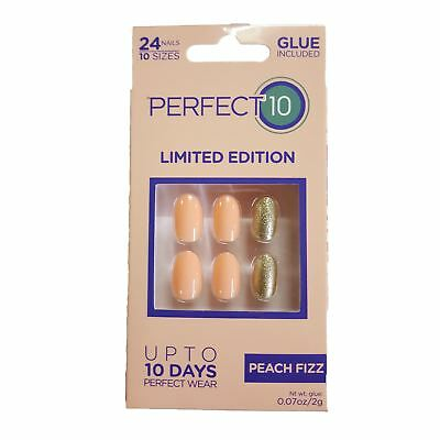 Perfect 10 False Nails - Peach Fizz Oval (24 Nails)