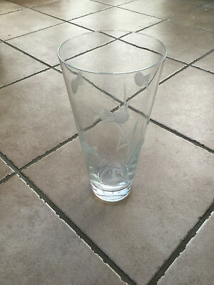 Stuart Crystal Thistle pattern cut-glass vase - 10 inches tall, great condition