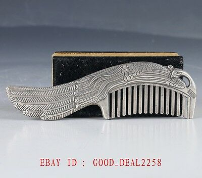 Old Tibetan Silver Handcarfted Peacock Comb    ZJ49