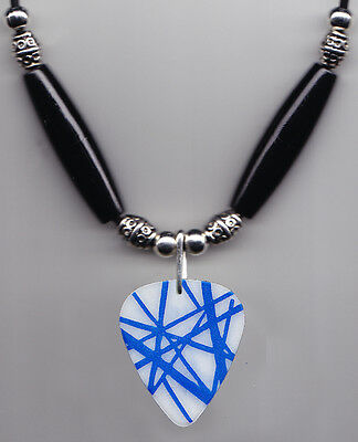 Van Halen White/Blue Frankentrat Guitar Pick Necklace 2012 Tour Wolfgang Eddie