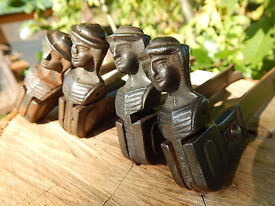 Lot of 4 Antique/Vintage French Cast Iron Window Shutters Stoppers ,shepherdess