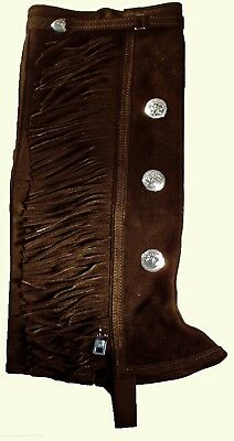 (X-Large, Chocolate) - Half chaps with Fringe and 3 conchos on each leg