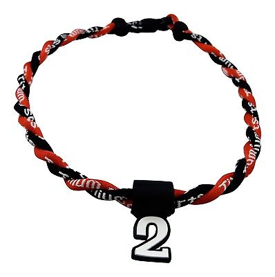 (Black Red) - Pick Your Number - Twisted Titanium Sports Tornado Necklace