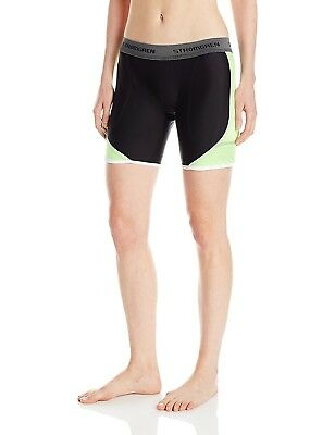 (Large, Black/Lime Green) - Cramer Women's Crossover Softball Sliding Shorts