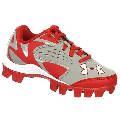 UNDER ARMOUR LEADOFF LOW RM JR GREY / RED YOUTH moulded BASEBALL CLEATS 11K