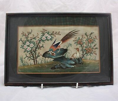 19th Century Chinese Rice Paper Painting of Birds
