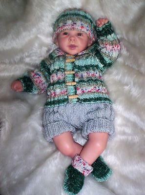 "Cute Hand Knitted Jacket and Shorts Set Reborn Baby 20""/ 21"" or Newborn Baby Boy"