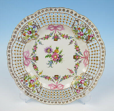 "Carl Thieme Dresden Porcelain 10"" Reticulated Cabinet Plate Flowers Gold & Bows"