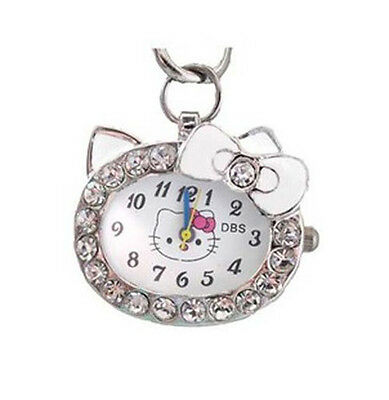 DBS Kitty Cat Analog Crystal Pendant Quartz Pocket Necklace Watch Montres White