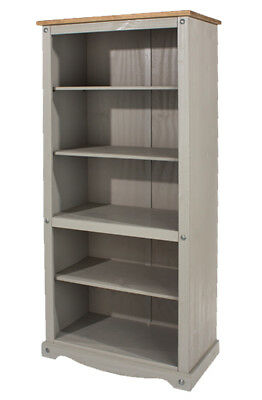Premium Corona Grey Washed Open Bookcase in Solid Pine with Adjustable Shelves
