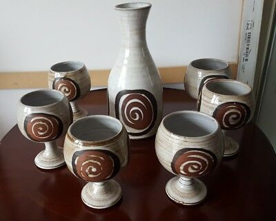 Briglin Pottery  6 Goblets  And Decanter Perfect Condition
