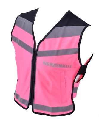 Ladies Equisafety hi vis air waistcoat safety bike riding vest choose size PINK