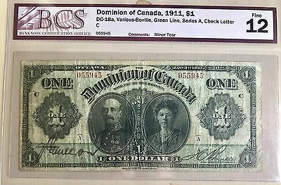 1911 Dominion of Canada $1 Green Line, Series A BCS F-12