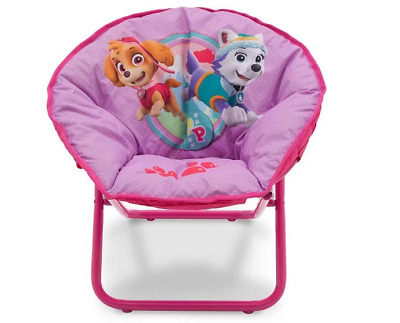 Girl's Paw Patrol Saucer Chair Fold Up Moon Chair - Ideal For Bedrooms (Delta)