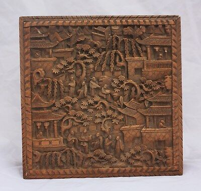 19th Century Chinese Cantonese Carved Wooden Box