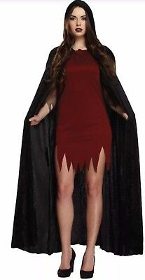 Long Velvet Black Hooded Cloak Cape Deluxe Vampire Halloween Unisex Fancy Dress