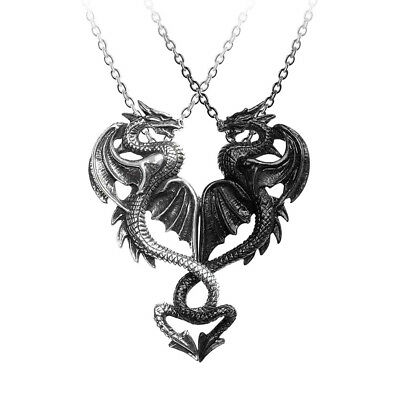 Alchemy Gothic Draconic Tryst Pewter Pendant, Silver Black Alternative Necklace