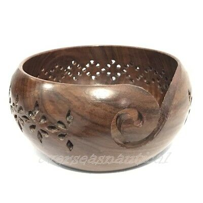 Wooden Yarn bowl hand made with sheesham wood for knitting Designer