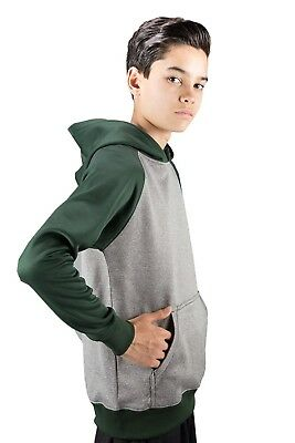 (Large, Forest) - Covalent Activewear Youth Ringer Hoody. Delivery is Free