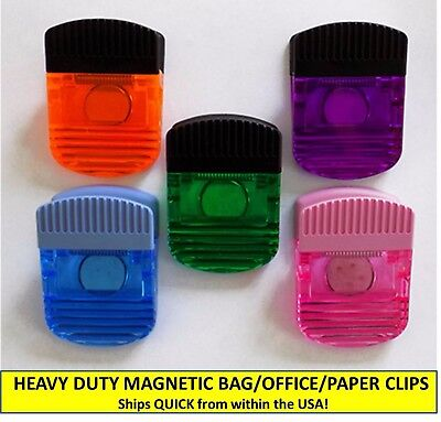 Set Of Five (5) Heavy Duty Translucent Magnetic Bag Clips, Office/paper Clips